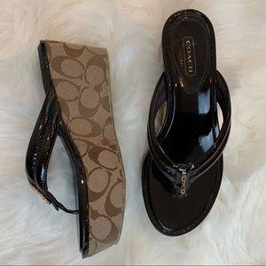 Coach Signature Black Patent Wedge Sandal Size 6